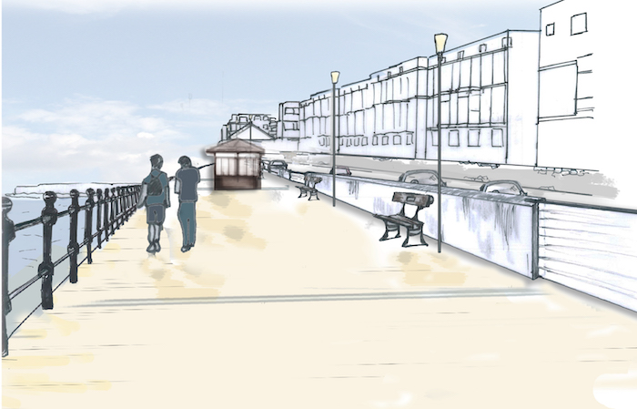 Artist's impression of a potential flood defence for West Kirby
