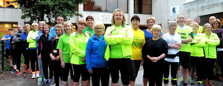Fiona Hanik, centre, with members of the West Kirby running group