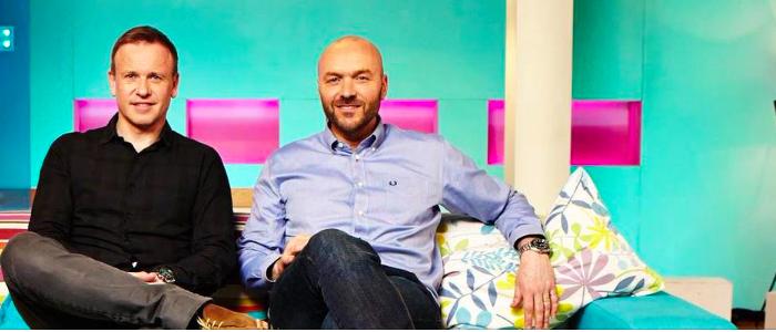 Tim Lovejoy & Simon Rimmer on set of Channel 4's Sunday Brunch