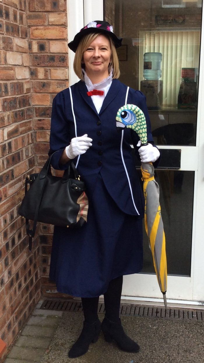 Mrs Callaway headteacher of Avalon School, as Mary Poppins