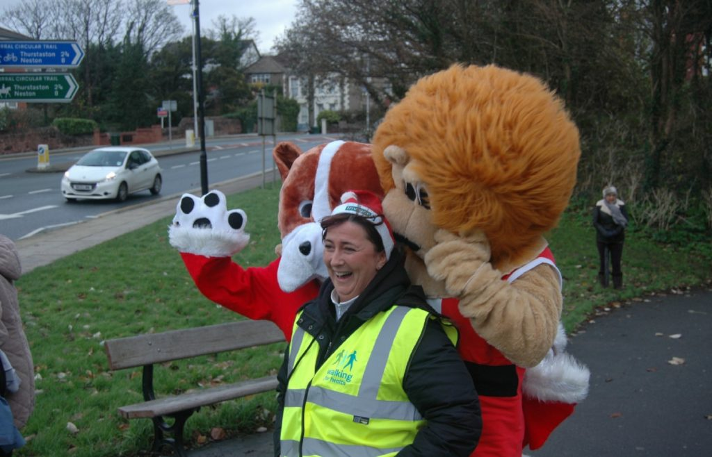 Fun and games with the mascots at 2015 West Kirby Santa Dash