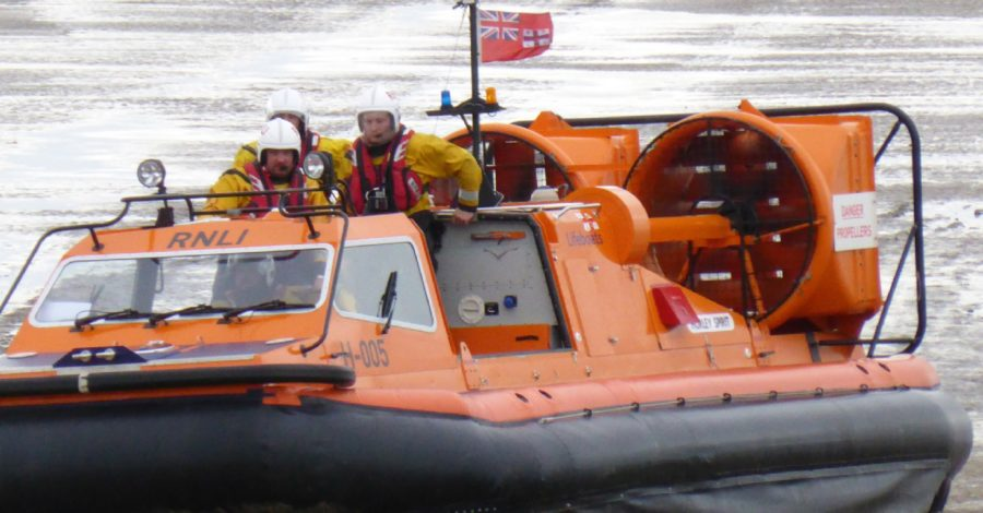 Walker with four dogs rescued by RNLI hovercraft at Meols