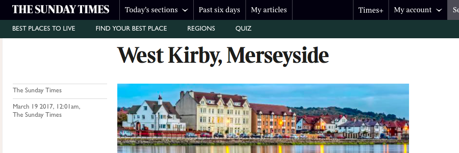 West Kirby named by The Sunday Times best places to live