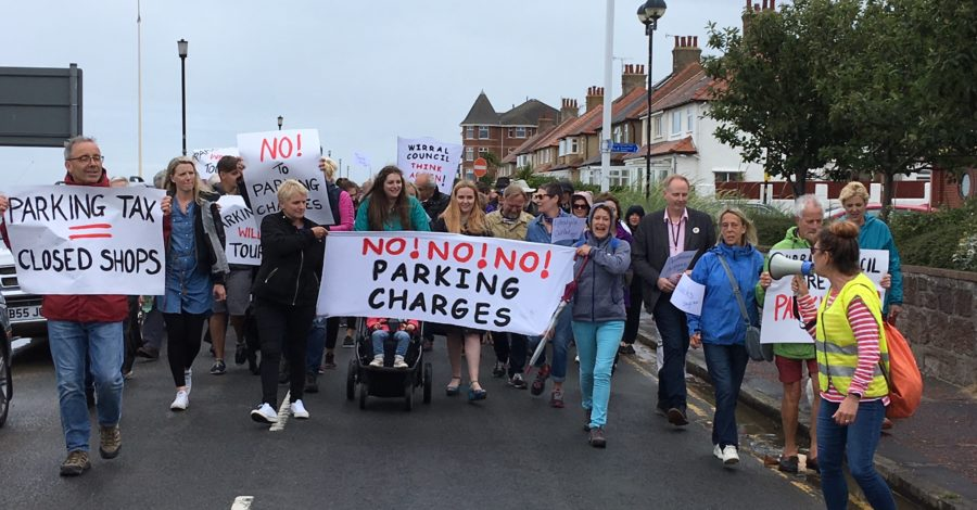 Protest against proposed car parking charges