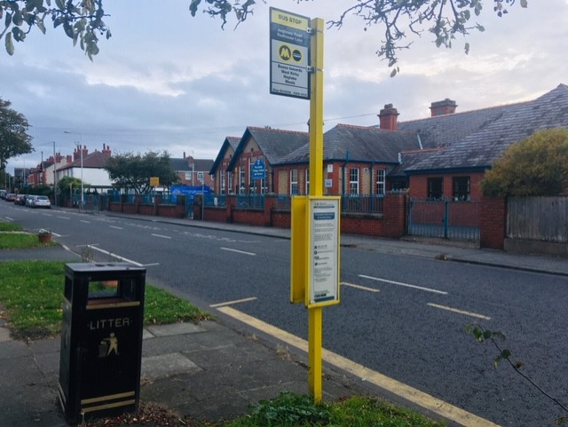 A bus stop previously served by Avon Buses
