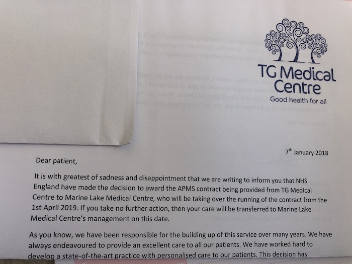 TG Medical Centre, letter to patients