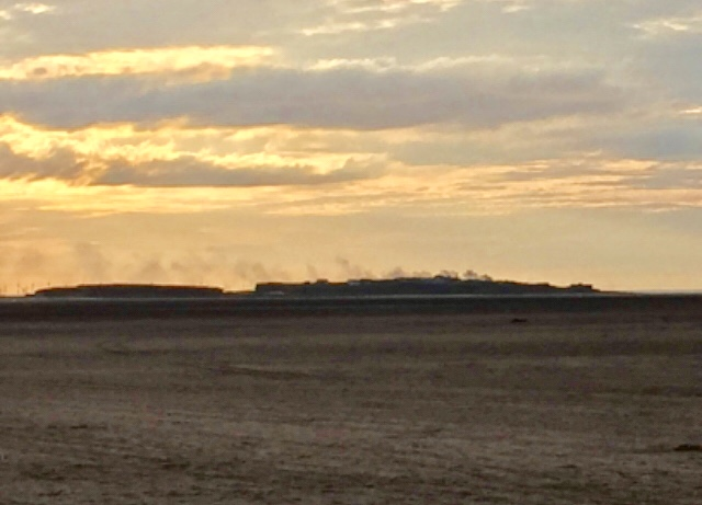 Smoke billowing over Hilbre Island during the blaze