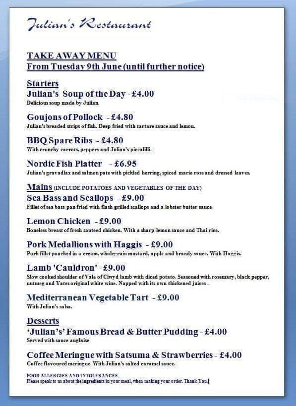 Julian's Restaurant menu