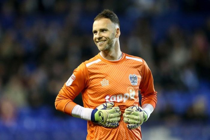 Bury Goalkeeper Joe Murphy has laugh with the Tranmere fans. EFL Skybet Football league two match, Tranmere Rovers v Bury FC at Prenton Park, Birkenhead, Wirral on Tuesday 30th April 2019.