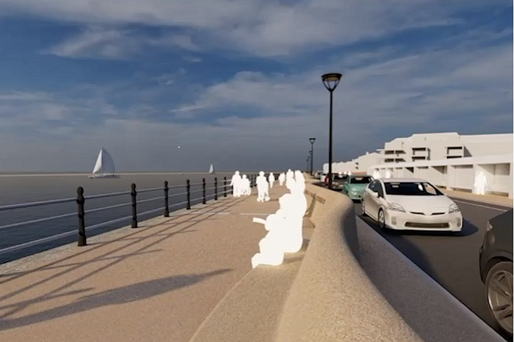 The new design for West Kirby flood wall